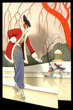 Lady Watching Skaters  ~  Art Deco
