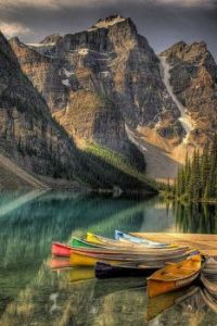 The Canoes at Moraine Lake in Banff National Park