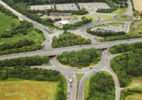 AERIAL VIEW OF THICKTHORN ROUNDABOUT INTERCHANGE