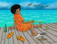African American folk art .. Girl Fishing