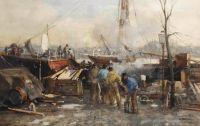 Johan Hendrik van Mastenbroek (Dutch, 1875–1945), Figures on a Quay in the Harbor of Rotterdam (1907)