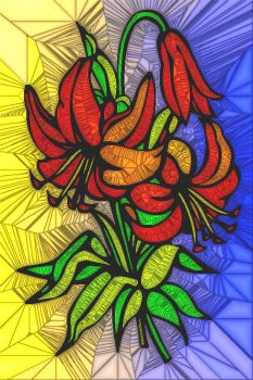 STAINED GLASS FLOWER B45