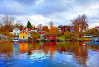 Waterfront in Vaxholm, Sweden