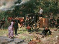 Begrüßung der Kaiserin Eugénie durch preußische Soldaten (nach Beendigung des deutsch-französischen Krieges 1870/71)
