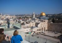 Jerusalem, Israel. The Western Wall, Temple Mount and the Old City as seen from the Jewish Quarter.