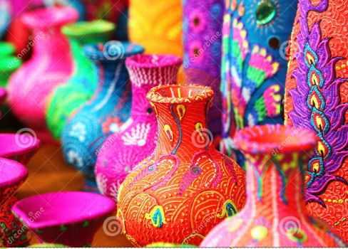 colorful painted vases and pots
