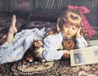 Little Girl & Kitten