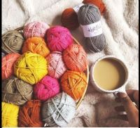 Cup of coffee and yarn