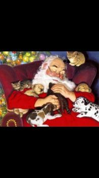 Santa and his fur babies