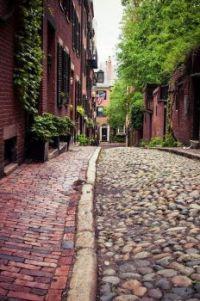 Cobblestones of Acorn Street, Beacon Hill, Boston, MA