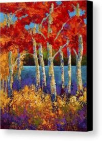 Red Birches by Marion Rose