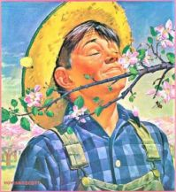 """Themes Vintage illustrations/pictures - """"Apple Blossoms"""" by Howard Scott; 1944"""