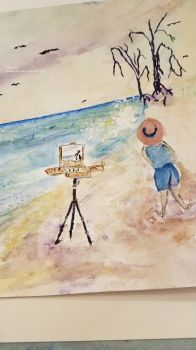 The Beach Artist.. Me .. Watercolor