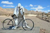 A ghost and his bicycle.