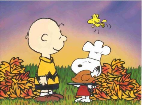 Charlie, Snoopy and Woodstock and their Thanksgiving turkey