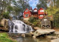Mill Shoals Falls in the Blue Ridge Mountains of Western North Carolina