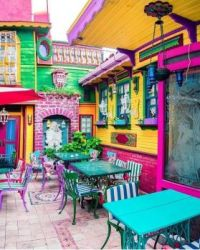 Colorful outdoor cafe