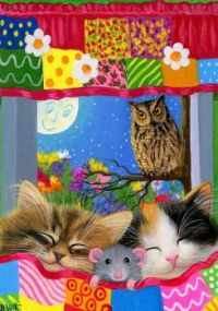 Kittens, mouse and owl.