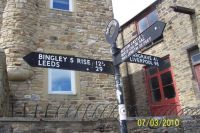 Signpost on Leeds & Liverpool Canal @ Skipton