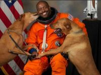 Astronaut with dogs