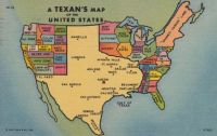 Texan's Map of the United States 1955 Postcard