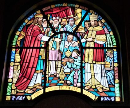 Stained glass window at Holy Trinity Cathedral, Abbas Ababa, Ethiopia