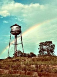 Rainbow over abandoned site