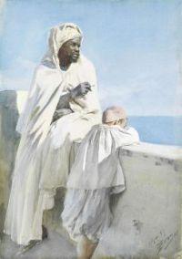 An_Algerian_man_and_boy_looking_across_Bay_of_Algiers