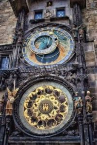 600 year old clock in the city of Prague