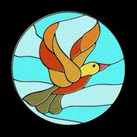 CA 498 - Stained glass bird (Smaller version)