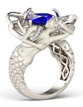 saphire and mermaid ring