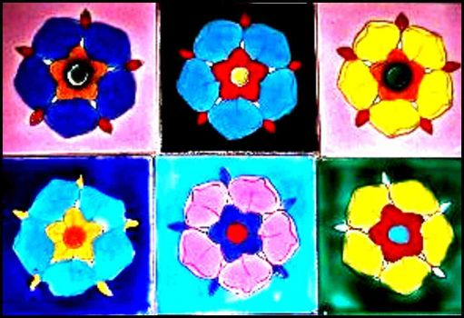 Nabeul tiles, flowers, smaller