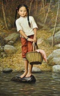 Barefoot Girl with basket