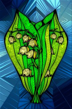 STAINED GLASS FLOWER B46