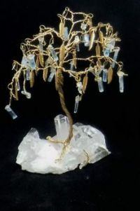 Aquamarine crystals gem tree on a Quartz crystal base