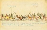 Returning from a Raid (c. 1875) ~ historical ledger art by Howling Wolf (Southern Cheyenne)
