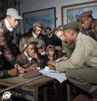 Tuskegee airmen at Ramitelli, Italy, March 1945.