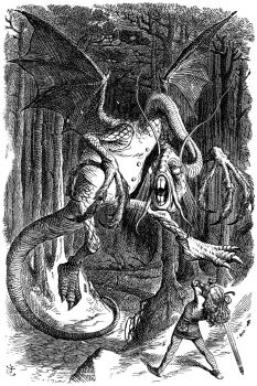 The Jabberwock - an illustration by Sir John Tenniel for Through the Looking-Glass, companion to Alice's Adventures in Wonderland