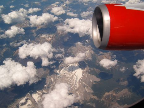 Flying Virgin over Canadian Mountains