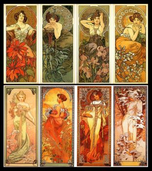 Alphonse Mucha The Precious Stones And Seasons