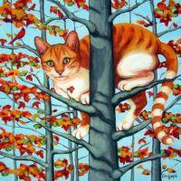 Cat In Autumn Trees
