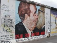 Allegedly, the most famous painting on the Berlin Wall. It's Brezhnev & Honneker.