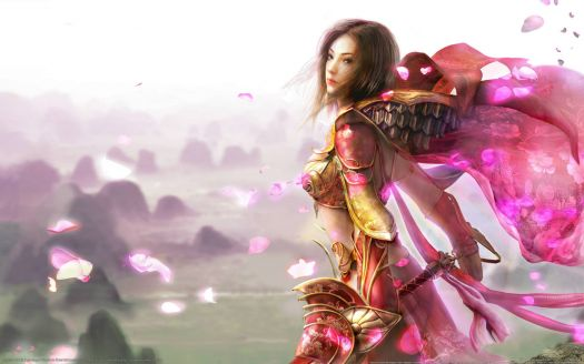 Woman Warrior in Pink Armor