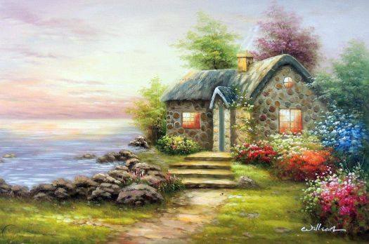 English stone cottage with flowers on the lakeshore at sunset