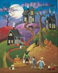 Up the hill to trick or treat!
