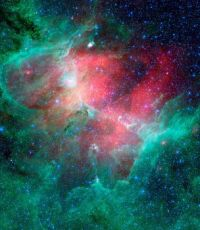 The Eagle Nebula, observed in infrared light by the Spitzer Space Telescope.  NASA