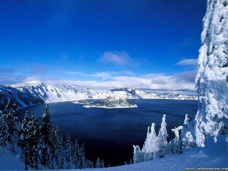 Snowy Crater Lake