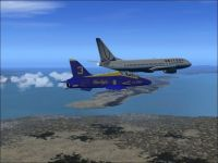 Escorting a 737 in Flight Sim