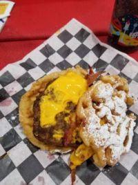 FunnelCake Bacon Queso Burger @ the StateFair of Texas