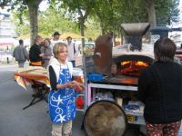 Portable pizza oven at Vence in France